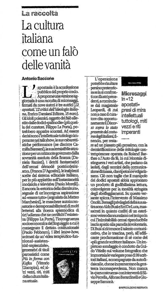 """il Mattino (Napoli) Recensione sul libro """"12 Apostati"""""""